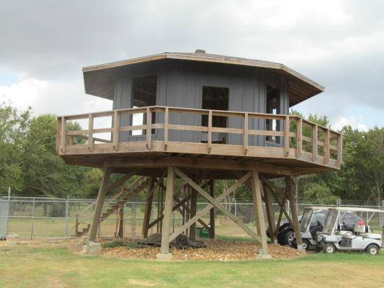 Camp Hearne: Recreated guard tower; original would have been higher
