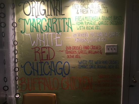 Mullica Hill, Nueva Jersey: Menu on the wall