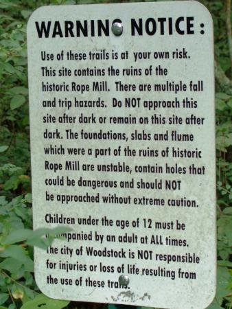 Woodstock, GA: ruins warning sign