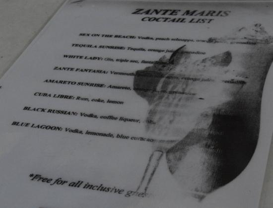 Zante Maris Hotel: Koktél lista