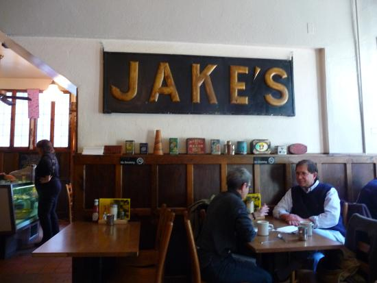 Jake's Restaurant: Interior of Jakes with wood type signage