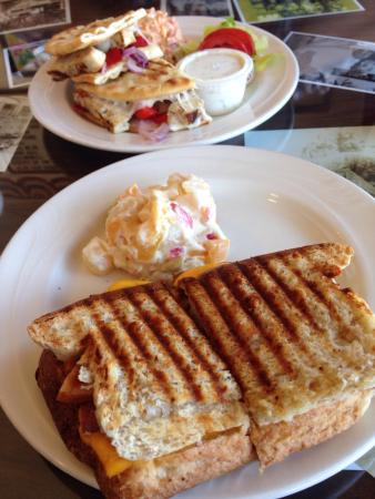 Lesa's Liberty Street Cafe: Grilled ham and cheese also pictured is the chicken Philly panini.