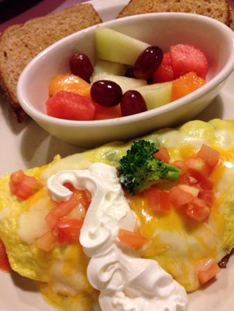 Bay Watch Restaurant: Veggie omelette with fruit and whole wheat toast.  (9/2015, $8.95)
