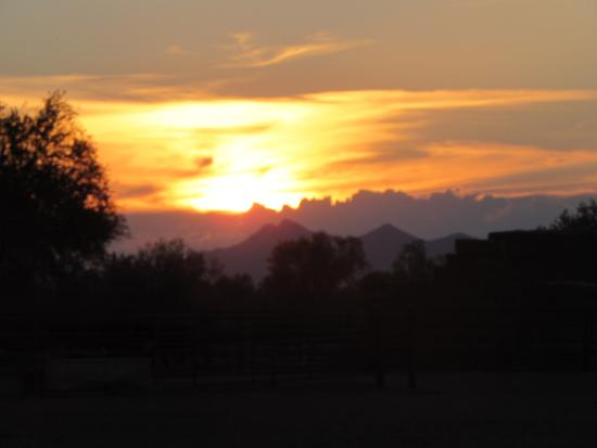 White Stallion Ranch: Sunset over the corrals