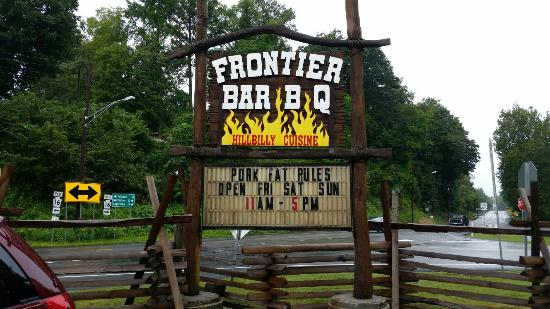 Frontier Bar B Q: Road sign