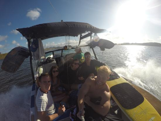On board Damo's Cairns Wakeboarding boat!