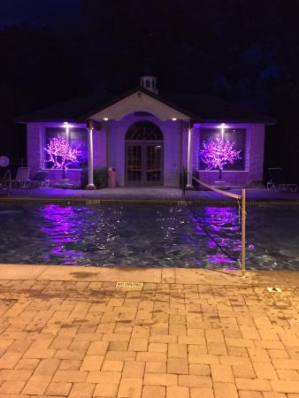 Central House Family Resort: the pool area at night