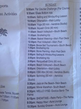Couples Swept Away : Activities' list (August 2015)