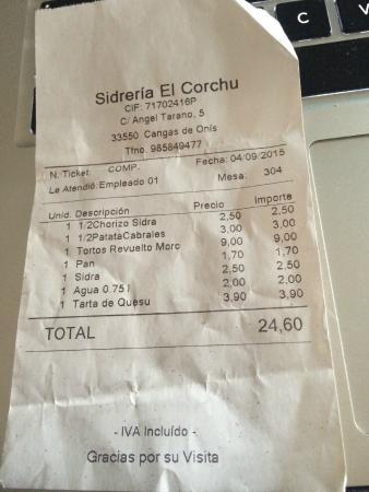 Sidreria El Corchu : Ticket
