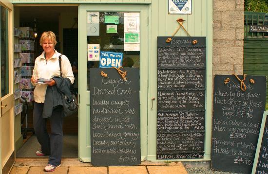 Quayside Lawrenny Tearoom: Happy customer and blackboards