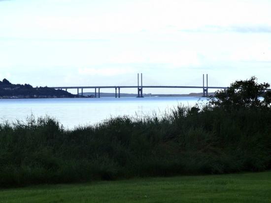 Bunchrew, UK: View from tent - Kessock Bridge