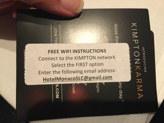 Hotel Monaco Salt Lake City - a Kimpton Hotel: Wifi with Karma rewards
