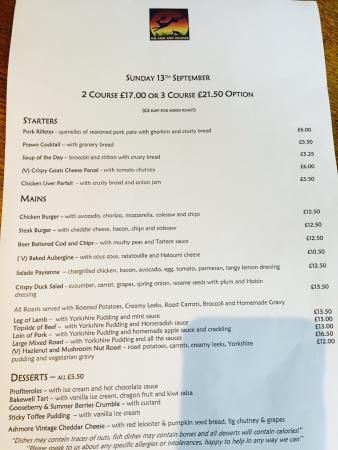 Claygate, UK: Menu