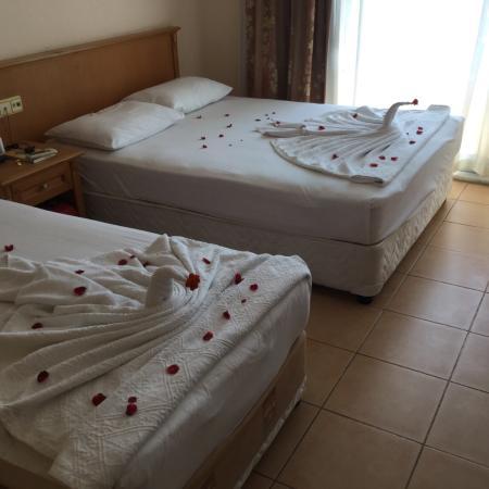 Azak Beach Hotel: rengøringsdamerne hygger med svaner osv.