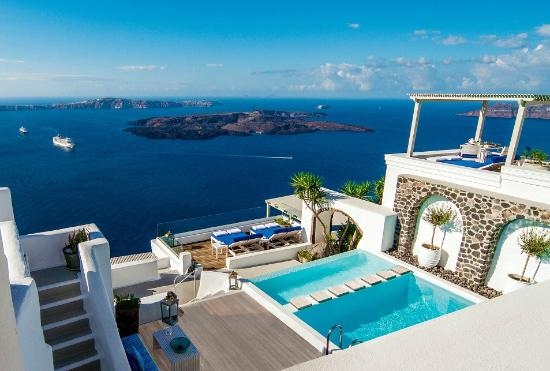 Iconic Santorini Pool Deck (149642865)