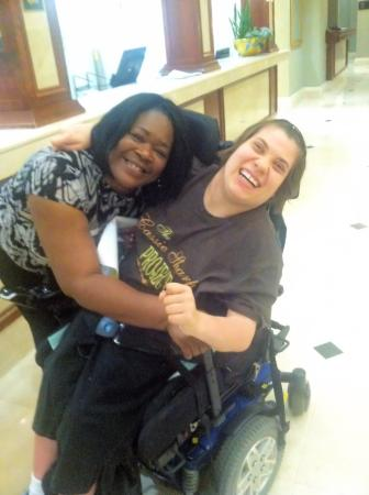 Clayton, MO: The kindness shown to us was amazing. My daughter loves hugs and just had to give Janice one.