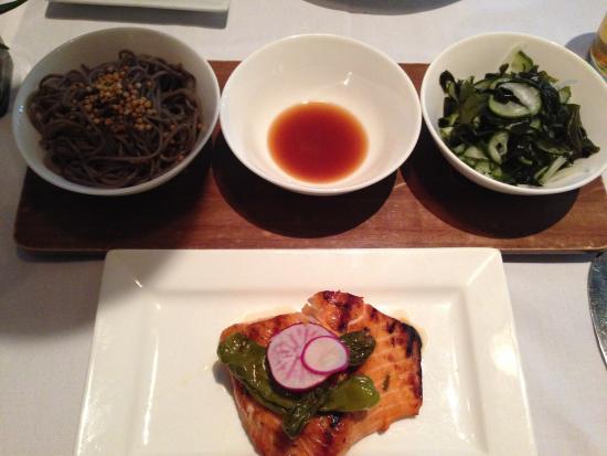 Roy's Waikiki Beach: Hibachi Grilled Atlantic Salmon w/ (R to L) Japanese Cucumber & Wakame Salad, Citrus Ponzu & Sob