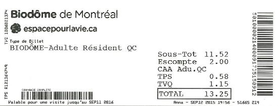 Biodôme de Montréal : rabais CAA $13.25