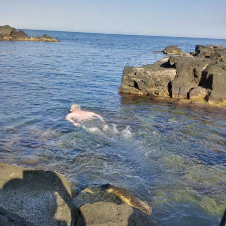 Stazzo, Italien: Going for a snorkel in what felt my own private cove.