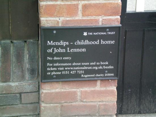 Fab Cabs of Liverpool Tours: Sign outside Mendips; Lennon's home