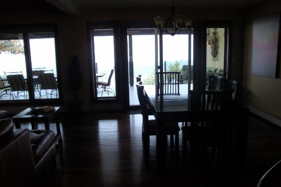A View of the Lake: View inside to outside patio