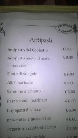 Osteria Il Gobbetto: меню