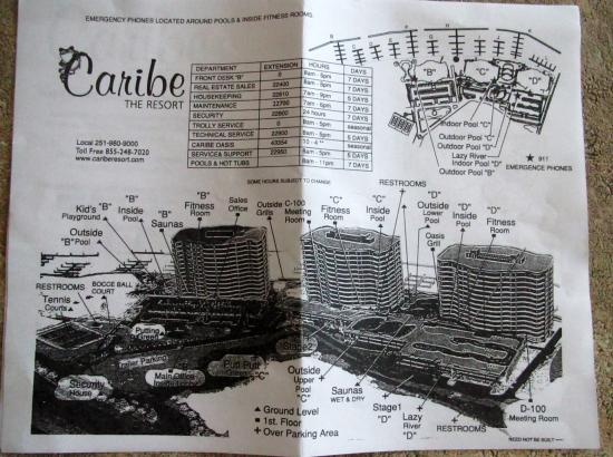 Caribe Resort: Map of Caribe - does not show locations of elevators, exits or stairwells.
