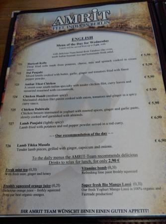 Amrit Indian Restaurant Berlin Menu