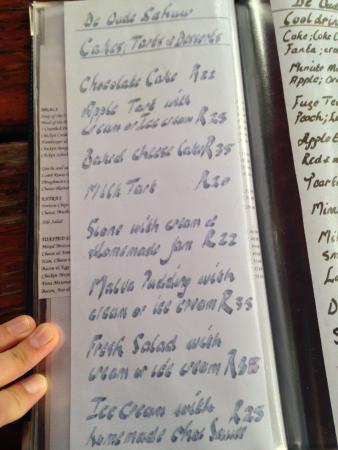 Riebeek-West, Zuid-Afrika: menu page