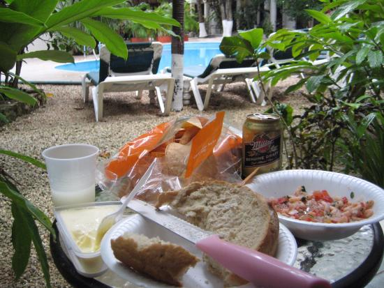 Hacienda Paradise Boutique Hotel by Xperience Hotels: snack on our patio on a rainy day