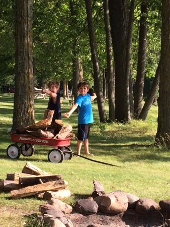 Fisher's Resort: Boys gathering the wood for our fire.