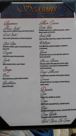 Sandos Cancun Lifestyle Resort: French lunch menu at Seasons