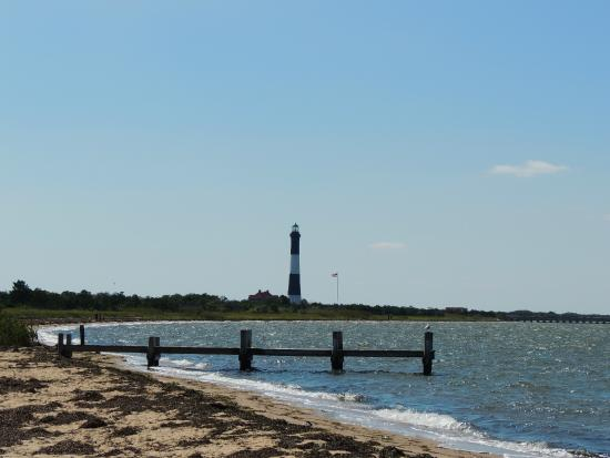 Fire Island Lighthouse: View of lighthouse from Kismet from the bayside