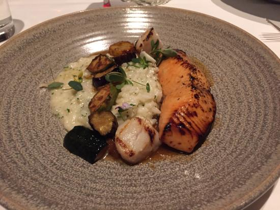 Ame : Fish of the day - salmon with scallops, risotto and root vegs