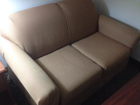 Holiday Inn Express & Suites Ex I-71/ Oh. State Fair/Expo Center: The sofa has a big stain