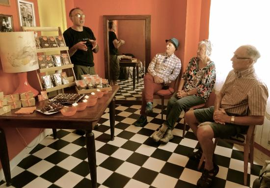 Cocoa & Grapes - Chocolate and Wine Tasting Tours & Events : C&G Tour group on 6 Sept 2015 listening to the Grand Chocolate Maker, Philippe Boccardi