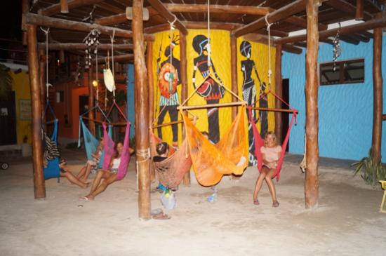 Tribu Hostel: One of the common areas (hammocks)