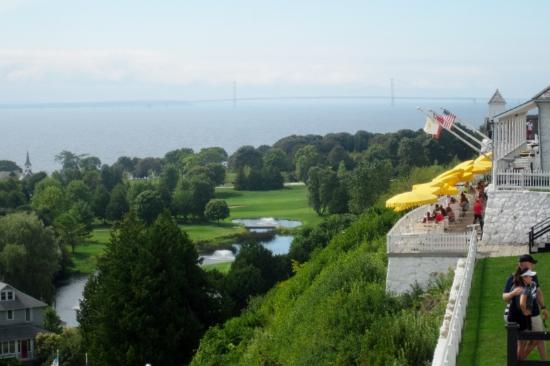 Fort Mackinac Tea Room: The Tea Room (yellow umbrellas) above the town and harbor