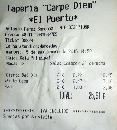 Factura Para 3 Menus 8 Euros Picture Of Carpe Diem El Puerto