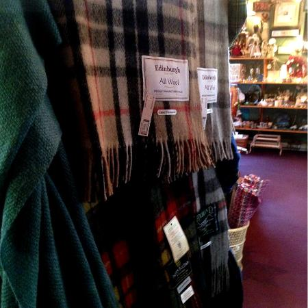 Flora's Gift Shop: They have a great selection of wool tartan blankets.