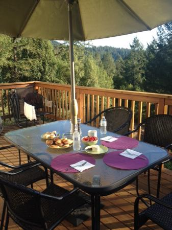 Forestville, Califórnia: Breakfast on the top deck