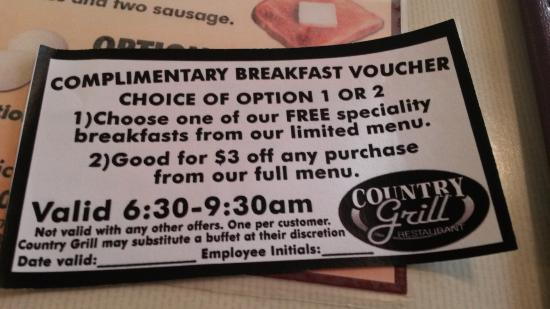 Magnuson Country Inn : Each registered guest gets a coupon for breakfast next door