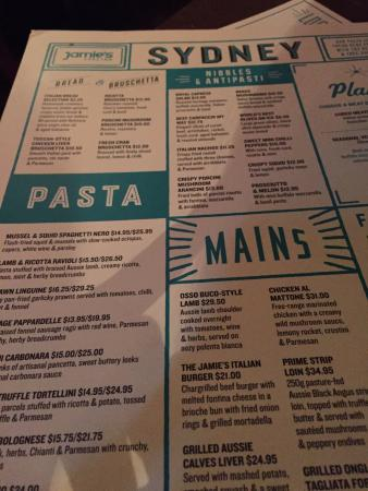 Menu  Picture Of JamieS Italian Sydney  Tripadvisor