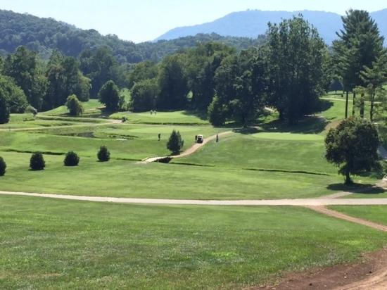 Lake Junaluska Golf Course: Lake Juneluska 10th and 11th on left   3rd green on right