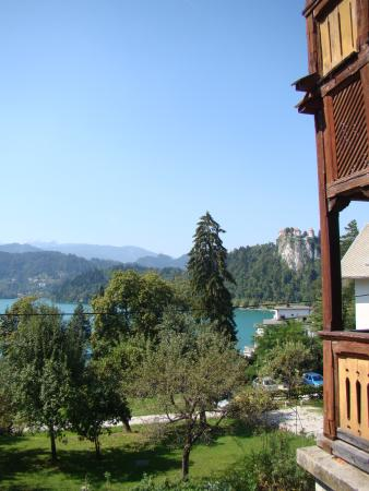 Vila Gorenka: Bled Lake with the Castle tucked behind next door's balcony