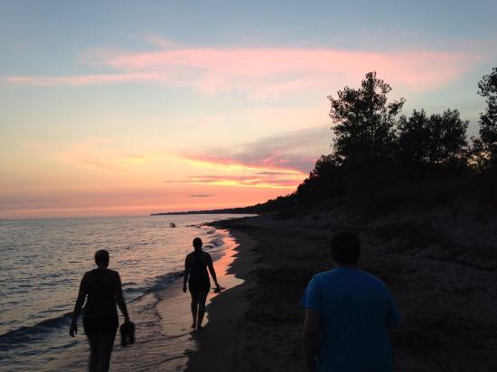 Long Point Provincial Campground: Walking on the Beach at Sunset.