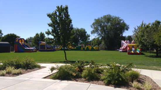 Grand Junction, CO: Setting Up The Inflatables at the Venue