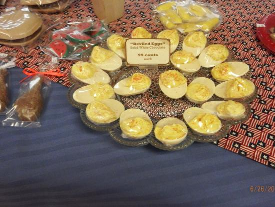 """The Chocolate Factory: """"deviled eggs"""" made from whie chocolate!"""