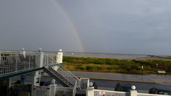 Water's Edge Ocean Resort: View from our balcony(no extra charge for the rainbow!)