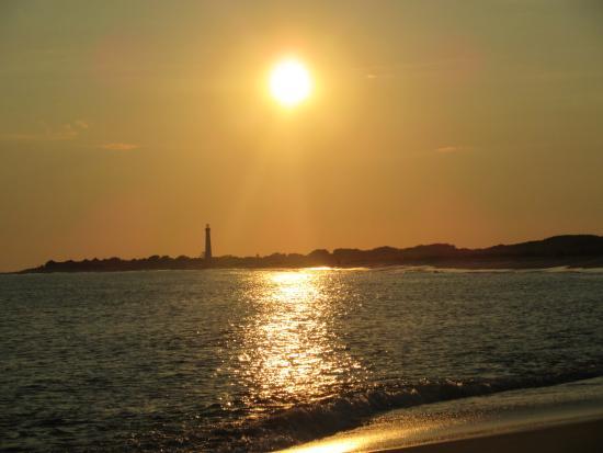 Sunset on the beach near the Jetty Motel.